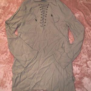 Stylish lace up long blouse
